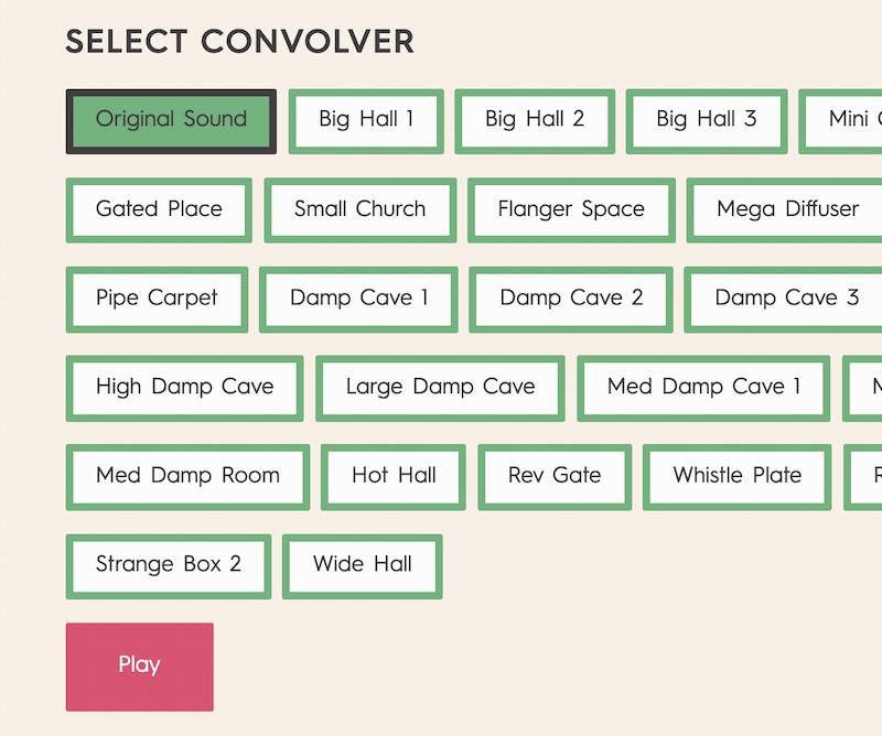 A screenshot of lots of buttons to select different convolver files